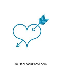 Heart with arrow Tattoo symbol of love. Linear style