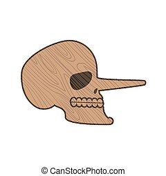 testa, scheletro, cranio, legno, isolato, Pinocchio, fondo,...