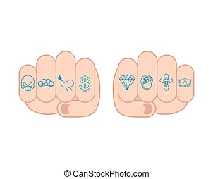 Fist with tattoos on fingers. Skull and brass knuckles. Heart and dollar. Brilliant and rose. Cross and Crown