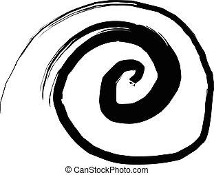 Sketchy vortex vector illustration, sketchy ink sign