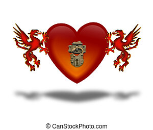 Red dragon heart with pad lock