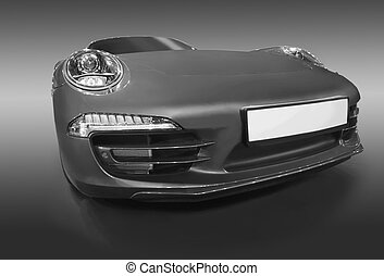 Beautiful sport car monochrome isolated on dark