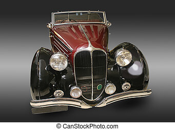 ancient car with bright light - ancient car shined with...