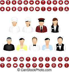 Restaurant People Icons And Map Icons Vector Set, Isolated...