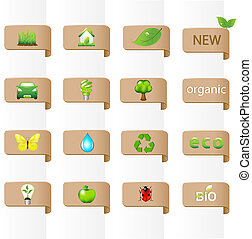 Collection Of Ecology Signs - 16 Ecology Signs, Isolated On...