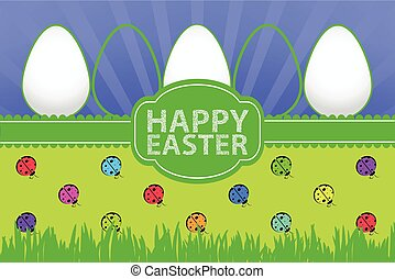grass background with white egg and ladybug