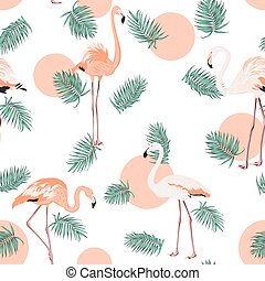 Turquoise green tropical pink flamingo sun pattern