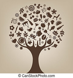 Brown Tree Made Of Products And Subjects Of Restaurant...