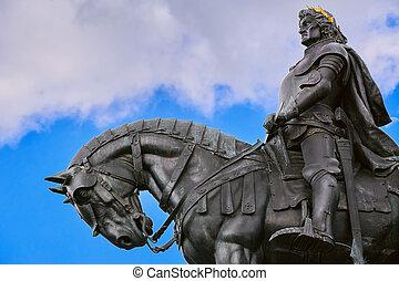 King Matthias Corvin Statue in Cluj-Napoca, Romania