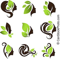 Woman Natural Beauty Hair Spa Salon Logo Design Set - Woman...