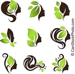 Woman Natural Beauty Hair Spa Salon Logo Design Set - Woman...