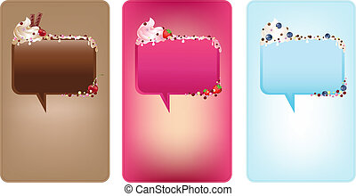 Banners With Speech Bubbles With Ice-Cream