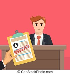 Business man is not hired. Hand with a document on the...