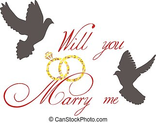 marry me - vector marry me card with doves