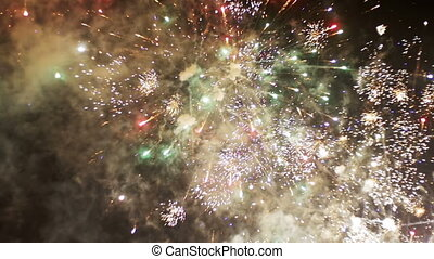 Fireworks Flashing in the Night Sky. Slow Motion