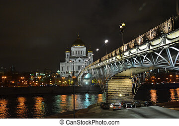 The Cathedral of Christ the Savior in Moscow at night.