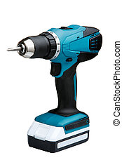 Blue cordless screwdriver with a drill isolated on white...