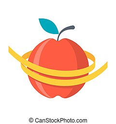 Diet Vector Icon - Diet concept, measuring metre round a red...