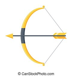 Bow and Arrow Icon - Bow and arrow icon in flat style