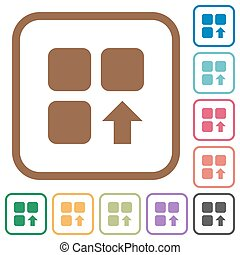 Move up component simple icons in color rounded square...