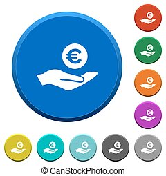 Euro earnings beveled buttons - Euro earnings round color...