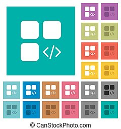 Component programming square flat multi colored icons -...