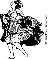 mulher, Ilustração, Dançar