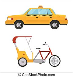 Yellow taxi rickshaw bike vector illustration car transport...