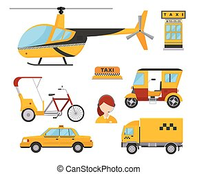 Taxi cab isolated vector illustration white background passenger car transport yellow icon truck van cargo helicopter bicycle dispatcher different