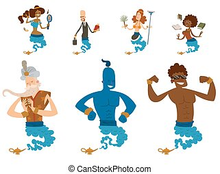 Cartoon genie character magic lamp vector illustration treasure aladdin miracle djinn coming out isolated legend set wish magical wizard desire