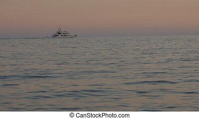 Sailboat Navigating in Mediterranean Sea.