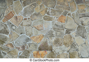 Weathered and stained old stone wall background - Stone wall...