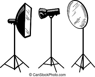 Photo studio equipment - Vector illustration of photo studio...
