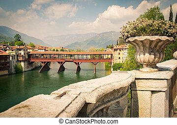Bridge of the Alpini in Bassano del Grappa, Vicenza, Italy....