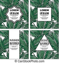 Set of square stylish tropical cards
