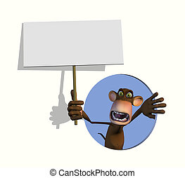 Goofy Monkey with Blank Sign