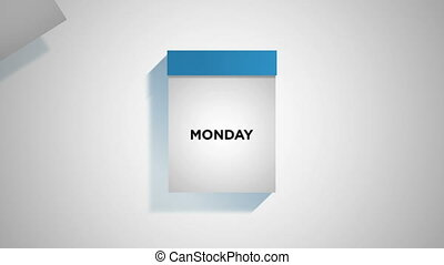 Blue weekly calendar on a white background with pages tearing off