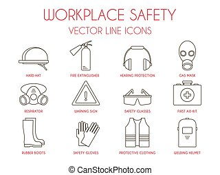 Workplace safety and personal protective equipment thin line icons set