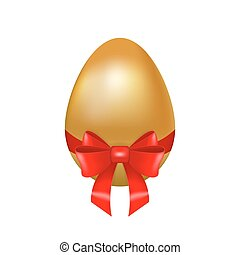 Realistic golden Easter egg decorated with red silk ribbon...