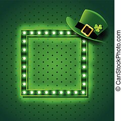 Green retro sign with St patrick hat