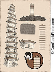 oriental pagoda illustration