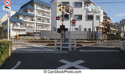 V-formation railway crossing of Seibu Ikebukuro line -...