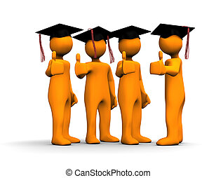 Graduate - Orange cartoons with a positive symbol on the...