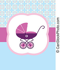 baby pram, baby birth card design vector illustration