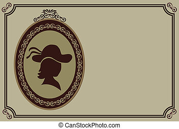 lady with hat in retro frame, vector illustration-1 - lady...