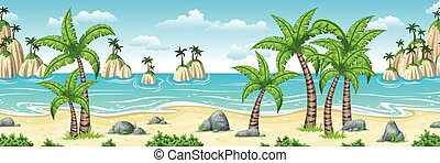 Illustration of a tropical coastal landscape with palms,...