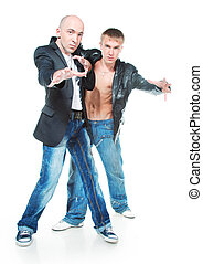 Two young men in jeans