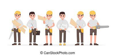 Team of many various carpenters, foreman, engineer, joiners...