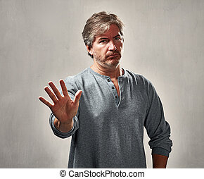 Disapproval man portrait - Disapproval refusing man gesture...
