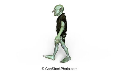 Walking goblin - 3D CG rendering of a walking goblin.